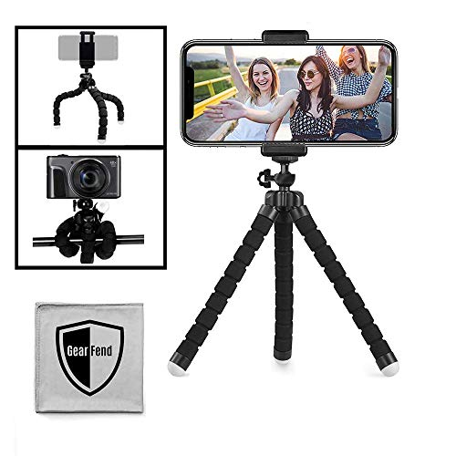 """GearFend 6.5"""" Flexible Universal Tripod, Smartphone Tripod Mount Compatible with All iPhones, Samsung Phones and Most Mobile Phones Plus Microfiber Cloth"""