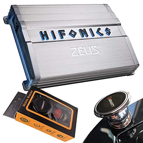Hifonics ZG-1200.1D 1200 Watts Zeus Gamma Mono Subwoofer Car Audio Amplifier with Gravity Magnet Phone Holder Bundle