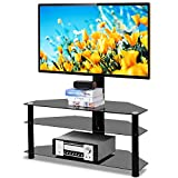 5Rcom Swivel Corner Floor TV Stand with Mount for Most 37 42 47 50 55 60 65 70 inch Plasma LCD LED Flat or Curved Screens TVs 3 Tier Tempered Glass Shelves for Media,Max VESA 600X400mm
