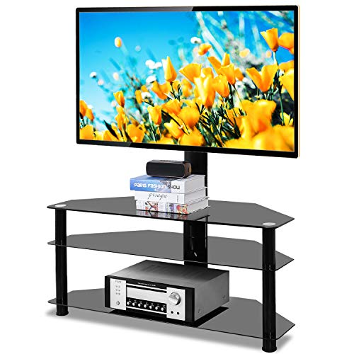5Rcom Swivel Corner Floor TV Stand with Mount Bracket for 37 42 47 50 55 60 65 70 inch Plasma LCD LED Flat or Curved Screens TVs 3 Tier Tempered Glass Shelves for Media,Weight Capacity 110lbs