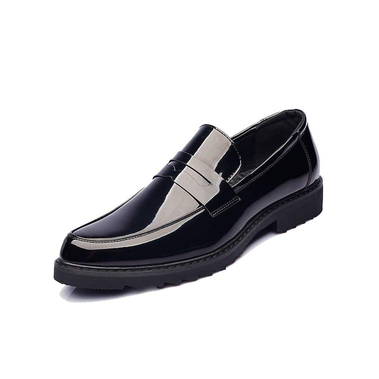 メンズシューズ 靴 男性 ファッション オックスフォード カジュアル 快適 オーバーオール フォーマルシューズ 通気性 (Color : Paint black, サイズ : 24.5 CM)