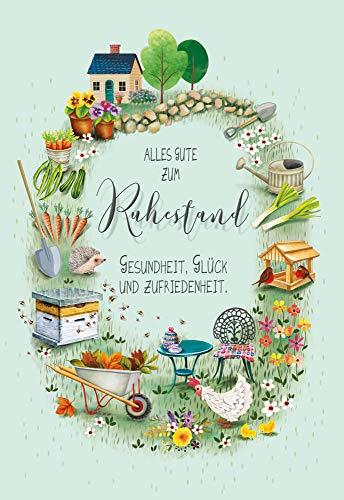 KE - Karte Ruhestand - Ruhestand Karte - Karte ohne Innentext - Karte in Folie - DIN B6 - Karte inkl. Umschlag - Motiv: Gartenarbeit