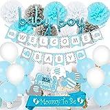 Decoraciones de Baby Shower Azul para niño, Mommy BE BE Sash, Centros de Mesa de Elefantes, Globos de Bienvenida de Baby Banner Boy para Baby Shower de Elefante