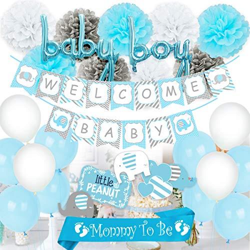 Blaue Baby-Dusche-Dekorationen für junge, Mama, Schärpe, Elefanten-Mittelstücke, Willkommen Baby Banner Boy Ballons für Elefanten-Baby-Dusche zu sein