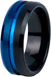 Ring for Men, For Wedding and Engagement, Anti Scratches, Rust and Water Resistant, Size - Black Blue