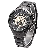 ManChDa Automatic Mechanical Skeleton Wrist Watch for Men Stainless Steel Strap Big Case Luxury Roman Number Transparent Dial with Box (1.Black)