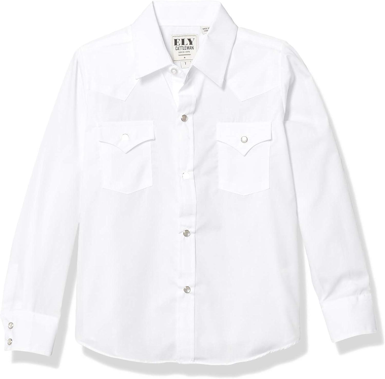 ELY CATTLEMAN Boys' Long Sleeve Solid Western Shirt