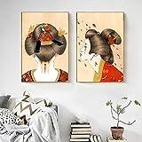 Cuadro en lienzo imagen moderna S arte de la pared pintura abstracta kimono japonés niña decoración del hogar modular estilo nórdico sala de estar cartel 30x42 cm Sin marco