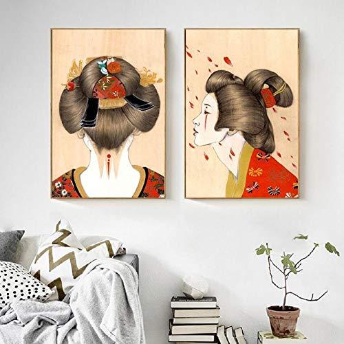 DOUYUAN Cuadro en Lienzo Imagen Moderna S Arte de la Pared Pintura Abstracta Kimono japonés niña decoración del hogar Modular Estilo nórdico Sala de Estar Cartel 30x42 cm Sin Marco