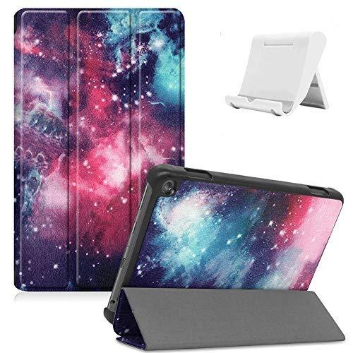 Shinyzone Hülle Kompatibel mit Amazon Fire HD 8 2020,Amazon Fire HD 8 Plus 2020 Tablet Hülle,Leder Trifold Ständer Magnetisch Befestigung Schutzhülle mit Auto Aufwachen/Schlaf,Galaxis