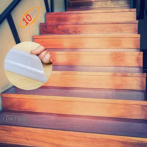 15cm x 60cm rutschfest Stufenmatten Transparent, ONTWIE Antirutschstreifen Treppe Set Anti Rutsch Selbstklebende Stufenmatten Rutsch Streifen als Rutschschutz Treppenstufen Matten - 10er Pack
