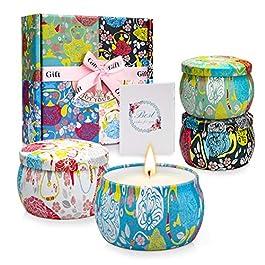 TOFU Bougies Parfumées, Bougies Deco 4*5.65Oz Cire de soja 100%, Coffret Cadeau Femme, Cadeau Fete des Peres,Cadeau…