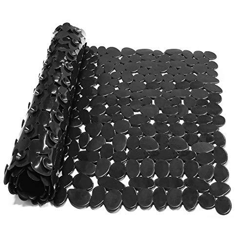 Alfombra Bañera Antideslizante con Ventosa Resistentes al Moho Lavables a Máquina Infantiles Alfombrillas para Bañera 88 x 40 cm (Negro)