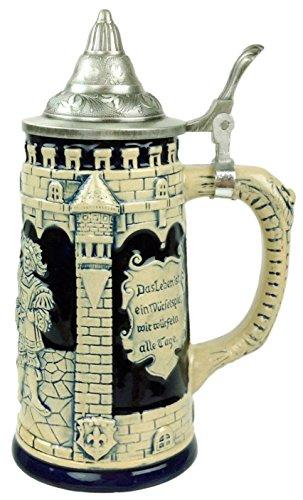 Collectible Deutsche Castle Festive Gravur Kobalt Blau Bier Stein mit Metall Deckel
