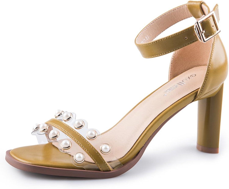 Sommer Modeschuhe Chunky Heel Sandalen EIN-Wort-Schnalle Sandalen  | Roman  | Vorzugspreis