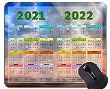 Yanteng Calendario 2021-2022 Golden Premium con Alfombrilla de ratón de Vacaciones con Borde Cosido, Alfombrilla de ratón para Juegos con temática de Cielo de Playa