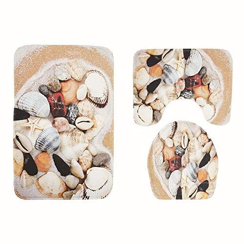 Bradoner Alfombrillas de baño con diseño de concha, versátiles y cómodas, absorbentes y no se decoloran y se pueden lavar a máquina