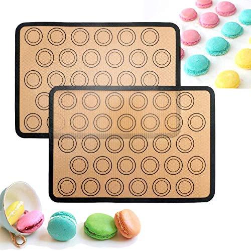 SUNTRADE Silikon-Backmatte für Macaron/Kekse, 30 Mulden, zum Backen von Keksen, Macarons, Brot und Gebäck, 2 Stück