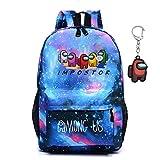 Among us Mochila , mochila para estudiantes sWerewolf Killing, mochila para computadora portátil para niños y niñas, regalo para fanáticos de los juegos adolescentes, con llavero (Cielo estrellado(B))