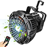 Fxexblin Camping Fan for Tent 2 in 1 Hanging Ceiling Fans Camp Light Remote Control USB Rechargeable Portable Lantern Power Bank for Outdoors Home Office Desk Car