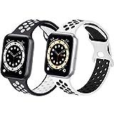 コンパチブル Apple Watch バンド, スポーツベルトシリコン 多空気穴通気性 防汗アップルウォッチバンドコンパチブル iWatch SE ,Series 6//5/4/3/2/1に対応 (42mm 44mmM/L, 黒/白+白/黒)