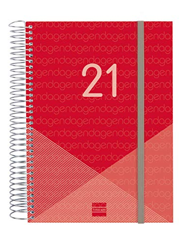 Finocam - Agenda 2021 1 Día página Espiral Year Rojo Español, Sobremesa - E10-155x212 mm