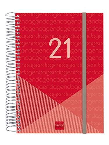 Finocam - Agenda 2021 1 Día página Espiral Year Rojo...