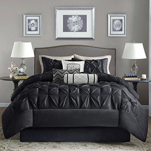 Madison Park Laurel Cal King Size Bed Comforter Set Bed In A Bag - Black , Wrinkle Tufted Pleated – 7 Pieces Bedding Sets – Faux Silk Bedroom Comforters