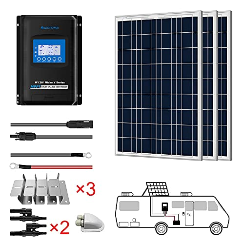 ACOPOWER 300 Watts 12/24 Volts Polycrystalline Panel Solar RV Kits