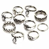 Shining Diva Fashion Antique Silver Set of 10 Midi Finger Rings for Girls