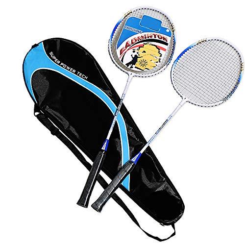 JYL Las Raquetas de bádminton para Adultos, Formación Raqueta de bádminton, Ligero Resistente Principiantes, Doble Raquetas, 1 Bolsa de Transporte incluidos,Azul