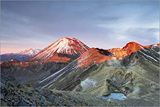Posterlounge Cuadro de Aluminio 30 x 20 cm: First Light on The Volcano, Tongariro Crossing, New Zealand de Matteo Colombo
