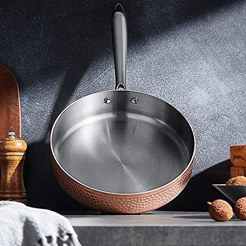 XGLIPQ Poêle antiadhésive non revêtue de cuivre martelé Wok domestique, flamme nue 24 cm, plaque à induction, cuisinière à gaz, poêle à steak, pot à soupe. Léger et facile à utiliser, facile à nettoye