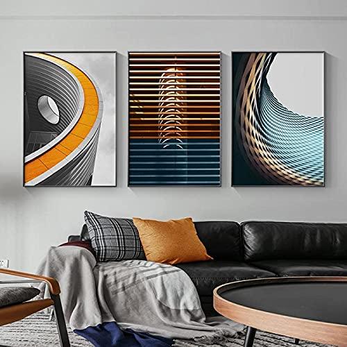 Impresión en lienzo 3 piezas 50x70 cm sin marco estilo nórdico arquitectura abstracta arte de la pared decoración moderna del hogar pintura impresión lienzo póster sala decoración de la galería