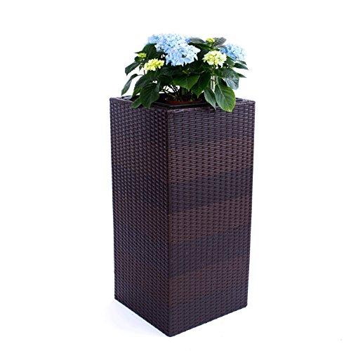 Blumenkübel Pflanzkübel Blumentopf Übertopf Polyrattan Säule LxBxH 30x30x55cm Coffee-braun.