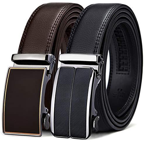 Mens Belt,Bulliant Leather Ratchet Belt for Men Gift Boxed,2 Units Packing,Size Adjustable