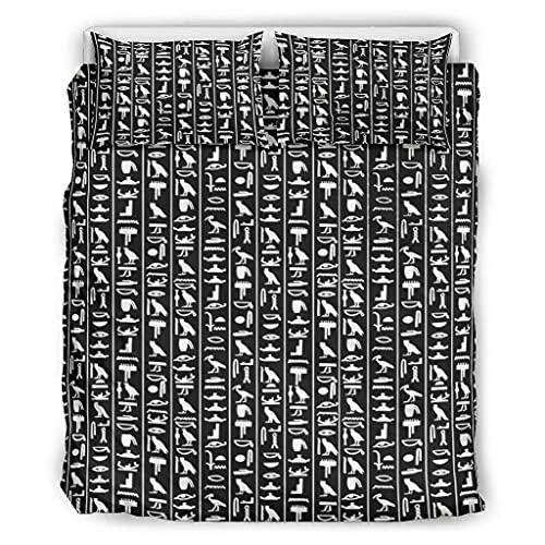 STELULI Coverlet - Colcha de glifo egipcio, suave, ligera, 1 funda de edredón y 2 fundas de almohada para niños, dormitorio, color blanco 90 x 90 pulgadas