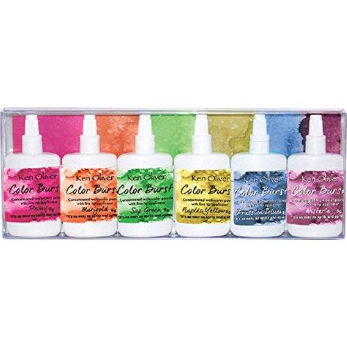 Ken Oliver Color Burst Watercolor Powders - 6 Pack Set, Fresh Florals