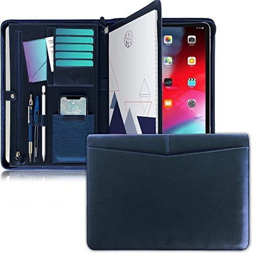 UNIMIRA Zippered Leather Portfolio Padfolio Navy Blue Business Case Organizer for Ipad 11 12 product image