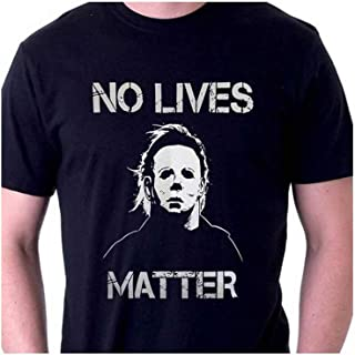 Man No Lives Matter Halloween Michael Myers Vintage Horror Movie Tees Graphic Letter Mask T-Shirt