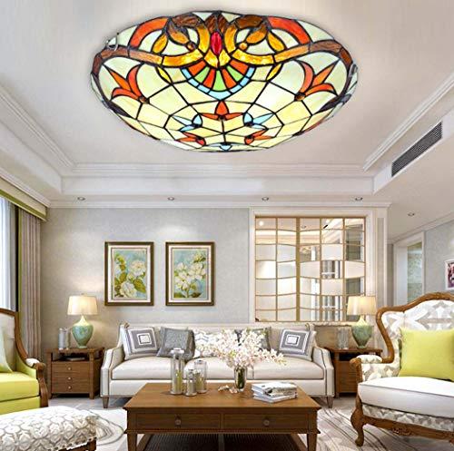 Yjmgrowing Tiffany Style Baroque Lámparas de Techo LED Plafón de Techo Hecho a Mano para vidrieras para la iluminación de la Entrada del Pasillo de la Sala de Estar, Chip LED,Whitelight,30cm