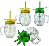 ML Pack 2 jarras Cristal Relieve con Forma de piña,Tapa enroscable y Pajita Reutilizable Libre de BPAde 450ml (Verde-pack4)