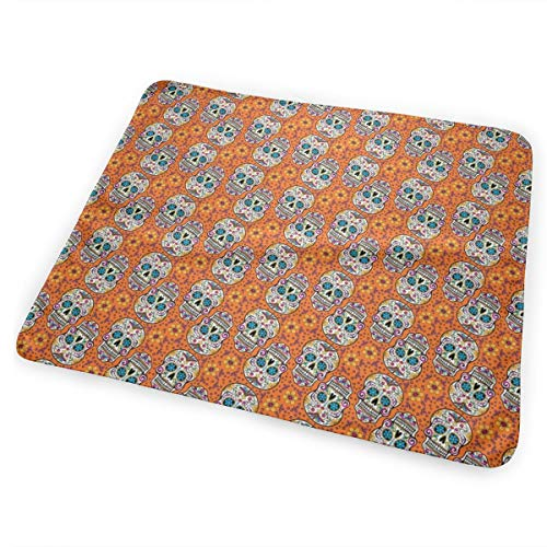 Sugar Skull Day Of The Dead Orange Bed Pad Washable Waterproof Urine Pads for Baby Toddler Children and Adults 31.5 X 25.5 inch