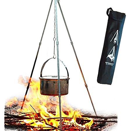 アルミコンパクト トライポッド 焚き火用三脚 高さ調節可能 収納バッグ付き キャンプ・アウトドア用品