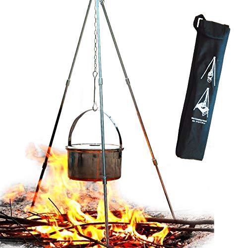 アルミコンパクト トライポッド 焚き火用三脚 高さ調節可能 収納バッグ付き キャンプ・アウトドア用品 (ブラック)