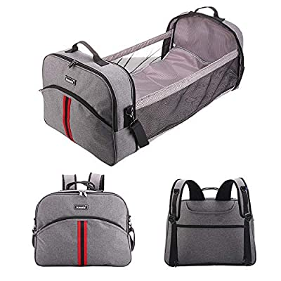 Komamba 3-1 Portable Diaper Bag - Foldable Bassinet As Baby Changing Station And Crib Functions for Travel Home Outdoor - Easy Folding