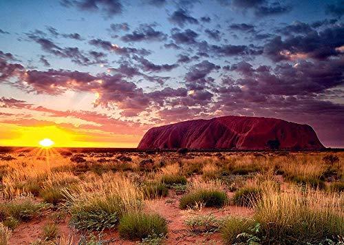 JINZUO Puzzle 1000 Pezzi 3D Bambini 8 Anni Paesaggio Legno Adulto Arte Giocattolo Decorazione Regalo Panorama Ayers Rock Australia