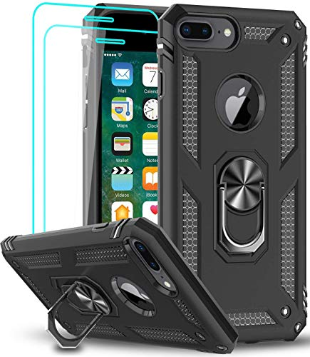 iPhone 8 Plus / 7 Plus / 6 Plus / 6s Plus Case with Tempered Glass Screen Protector [2Pack], LeYi Military-Grade Phone Case with Car Mount Ring Kickstand for iPhone 8/7/6/6s Plus, Black