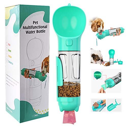 LEcylanker Portable Pet Water Bottle, Dog Drinking Bottle for Travel, BPA-Free FDA Certification, 4 in 1 Drinking Bottle Dog Cat 300 ml Scoop Dog Food Box Pet Waste Bag (Blue)