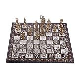 WERTYU Juego de ajedrez para Adultos Juego/Juego de ajedrez de Metal, tamaño Extra Grande, Figura Romana, 43 x 43 cm